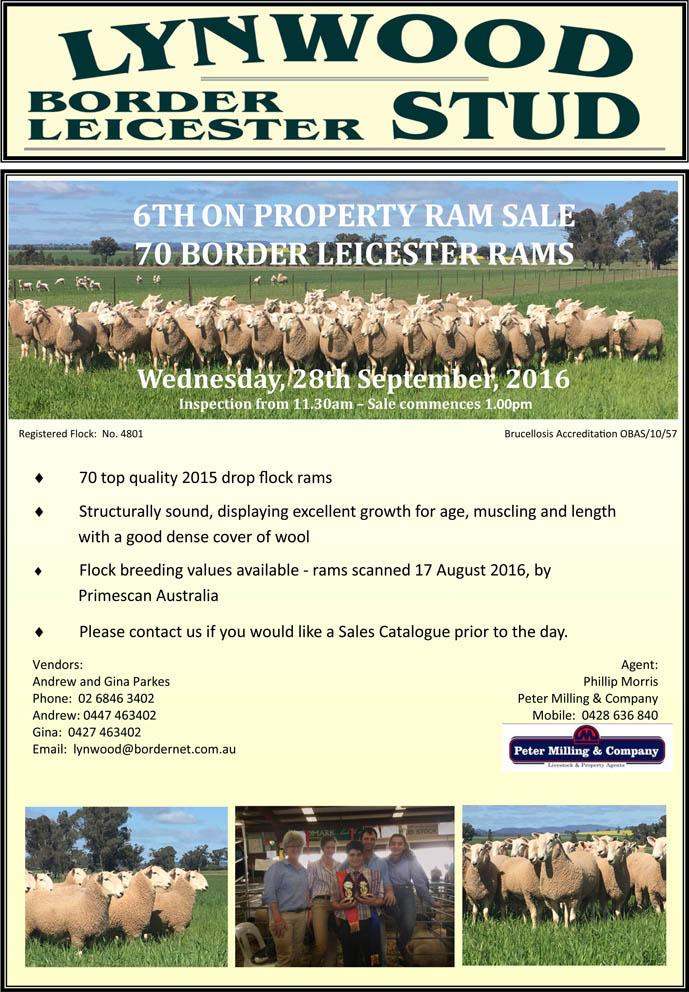 Lynwood Border Leicester Stud Ram Sale